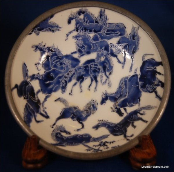 Vintage Asian Porcelain Bowl set in Pewter with White Background and Blue Horses beautfiully done Lord & Taylor Japanese Porcelain Ware decorated in Hong Kong.