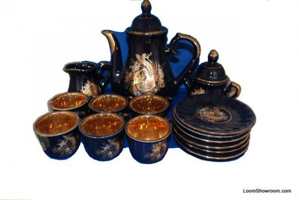 Persian Tea or Coffee Set Hand Painted and Gilt Porcelain Hasan Basri Vintage Set