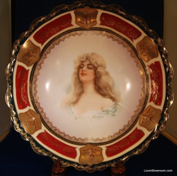 Antique Austria Painted Portait Porcelain Bowl Signed Portrait with Austria and Beehive Mark to Bottom Extraordinary Bowl