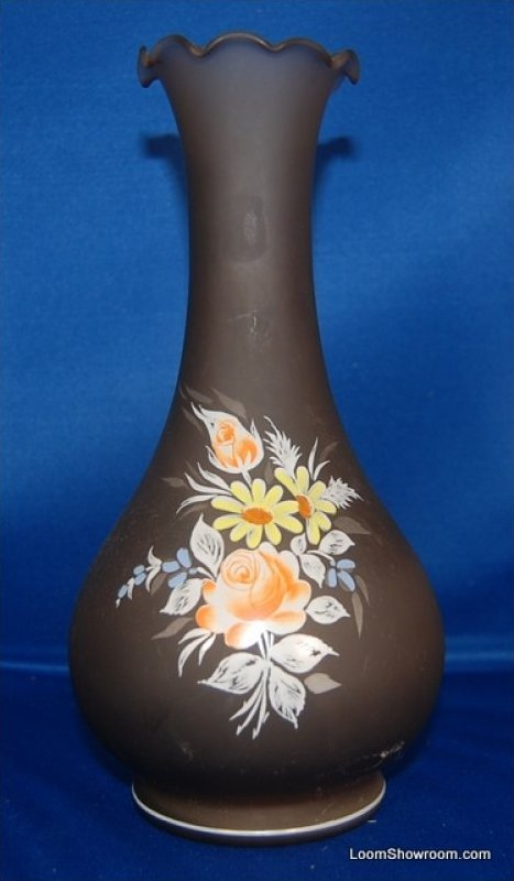 Antique Blown Glass Vase with Hand Painted Floral Artwork to Front