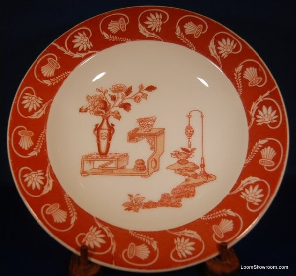 Antique Theodore Haviland Limoges Porcelain Plate Red and White Beautiful Artwork Box31R