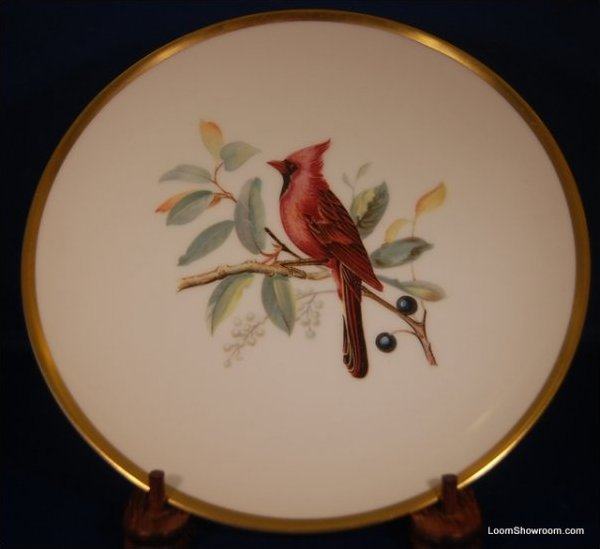 Audubon Hutschenreuther Gelb Bavaria Germany Pasco Cardinal Bird Painted German Porcelain Plate