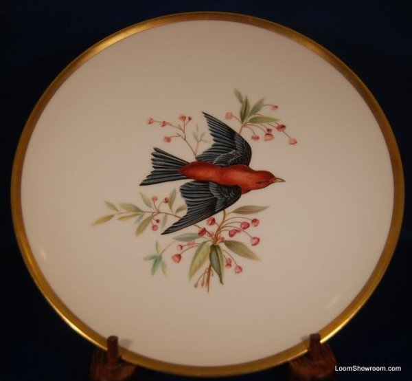 Audubon Hutschenreuther Gelb Bavaria Germany Pasco Scarlet Tanager Bird Painted German Porcelain Plate
