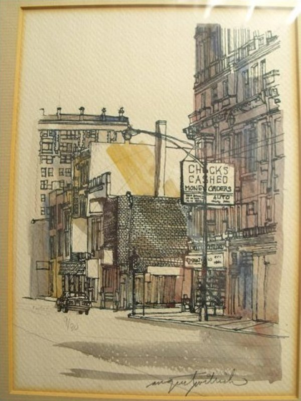 August Wilrich Streetscape Signed Numbered 9/30 Hand Colored Print Framed JF190-15