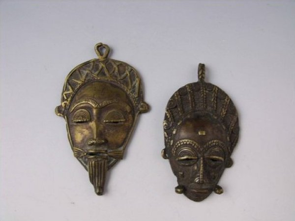 Ashanti Pair Ashanti Bronze Figural Face Mask Pendants Male and Female early 20th Century African Bronze JF207-23