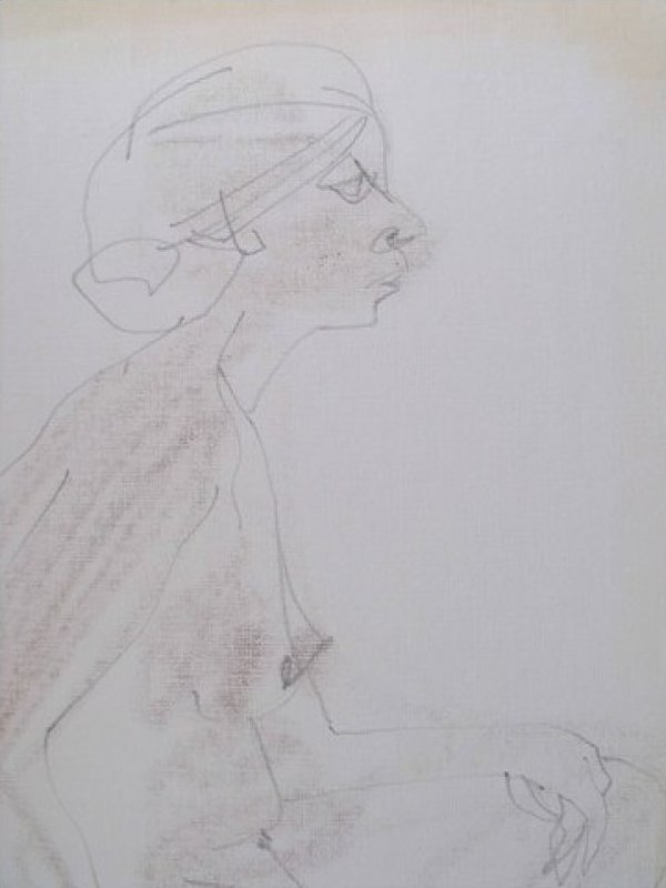 Original Pencil Drawing Female Nude Edie Harper Unframed Artwork JF245-15