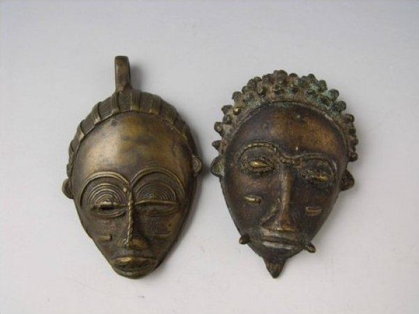 Ashanti Pair Ashanti Bronze Figural Face Mask Pendants Male and Female late 19th - early 20th Century African Bronze JF275-22