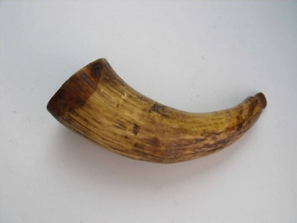 Antique Powder Horn early to mid 19th century Wood Plug End cap Very Nice Piece JF359-16