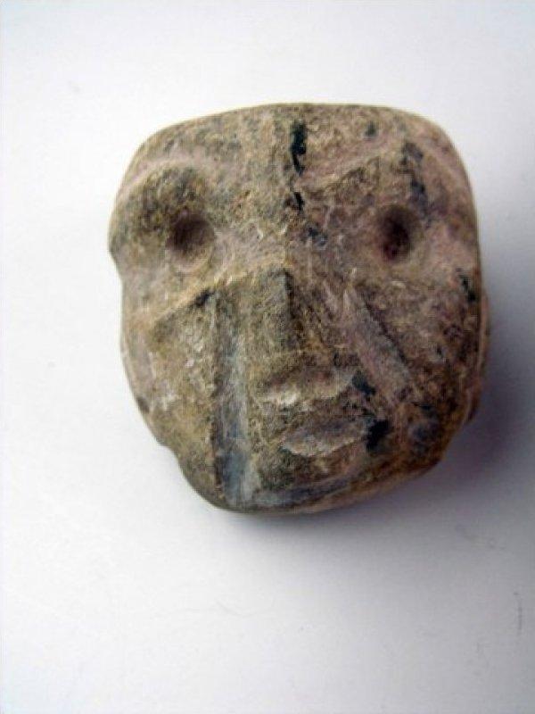 Guerrero Mexican Pre Columbian Circa 400CE Stone Head Amulet JF424a-5