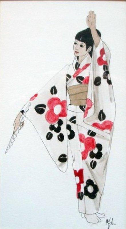 Japanese Geisha Original Watercolor Signed by Artist Framed under glass JF1010-12