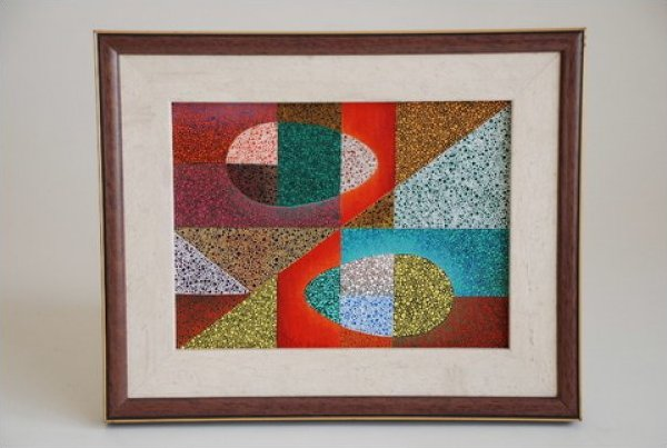 Aborigine Australian Original Painting Signed IMPRESSIVE and Framed Larsen Juhl Frame JF274-320
