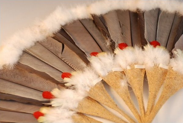 Fan Vintage Asian Fan Composite Handles with Feathers  JF391-23