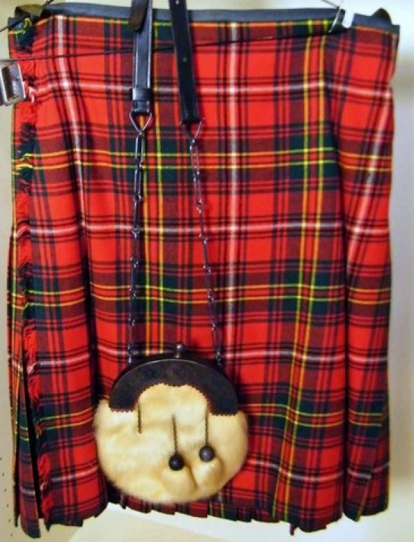 Scottish Tartan Plaid Wool Kilt with Amazing Fur Sporran Vintage Men's Kilt JF524-55