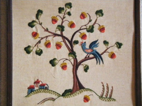 Vintage Hand Stitched Needlework Tree and Flower Artwork JF425-8
