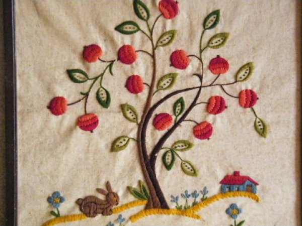 Vintage Hand Stitched Needlework Tree and Flower Artwork JF425a-8