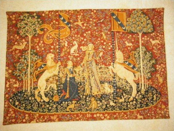Vintage Flemish Tapestry Lady and Unicorn Belgium Woven Beautiful Piece JF484-45