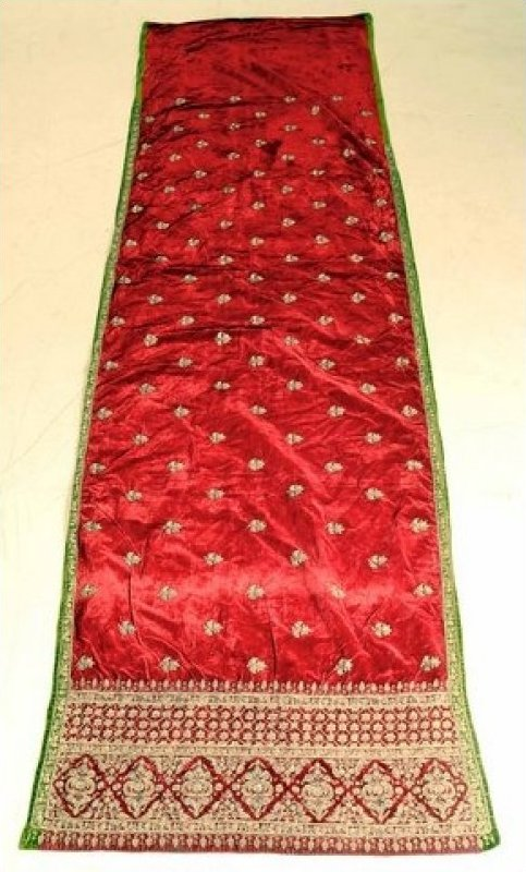 SARI Antique Cotton Velvet Sari Embroidered with Gilt Silver Heavy Needlework C1880