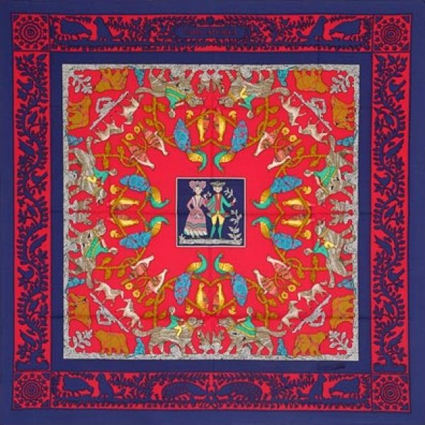 Vintage Hermes Silk Scarf Early America by Francoise de la Perriere