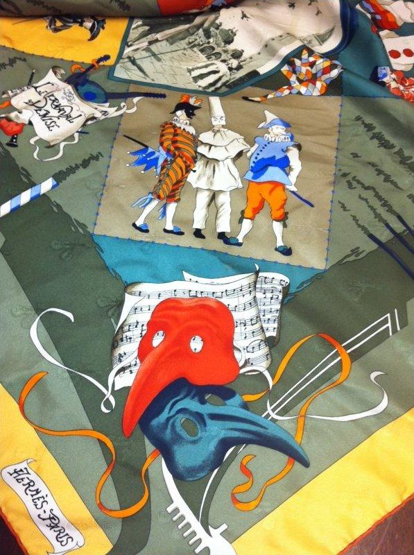 Vintage Hermes Silk Scarf Carneval de Venise by Le Hubert de Watrigant