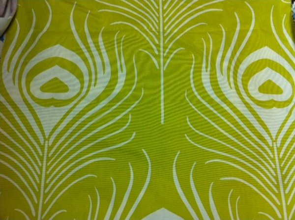 Thomas Paul Graphic Bold Large Scale Modern Peacock Feather Heavy Textured Cotton Fabric Bird Feather Silouhette Chartreuse DSO155 NR