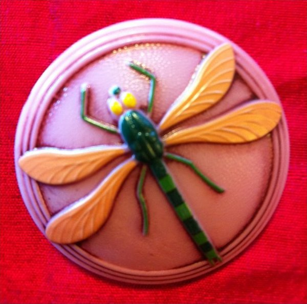 Vintage Bohemian Dragonfly Extra Large Glass Button OS212