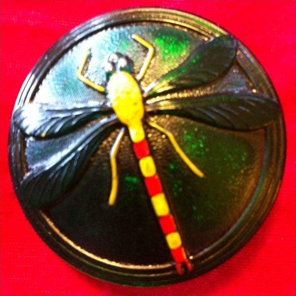 Vintage Bohemian Dragonfly Extra Large Glass Button OS201