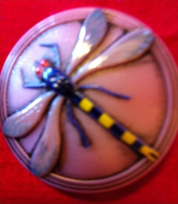 Vintage Bohemian Dragonfly Extra Large Glass Button OS203