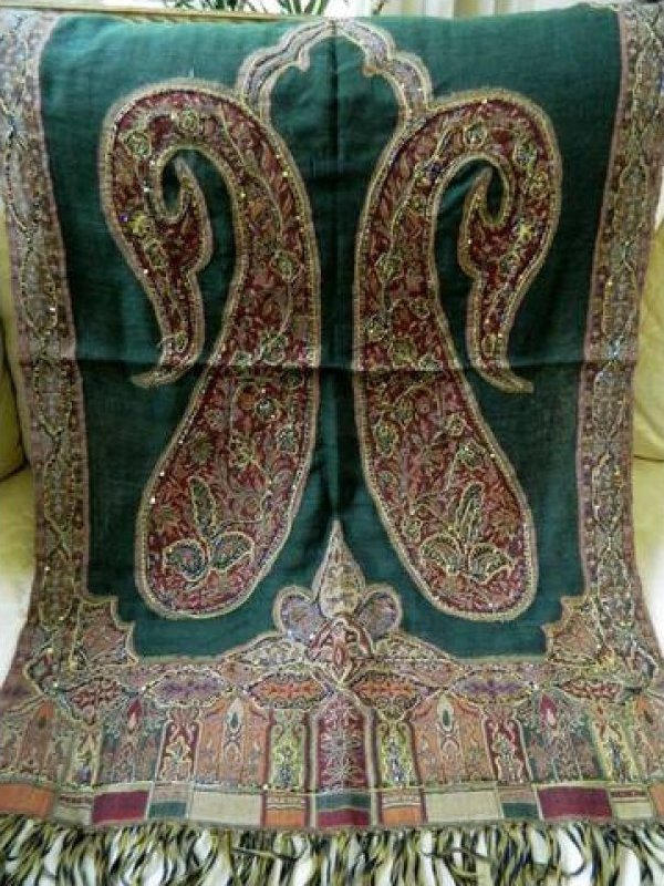 Vintage Wool Paisley Shawl Scarf Beaded Embroidered Textile EB142