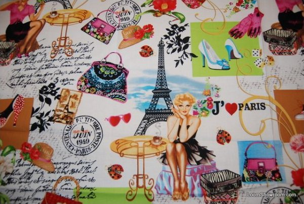 Sexy Lady J'adore Paris Ladies France Eiffel Tower Couture Shoes Gloves Fashion Cotton Fabric Quilt Fabric AC058