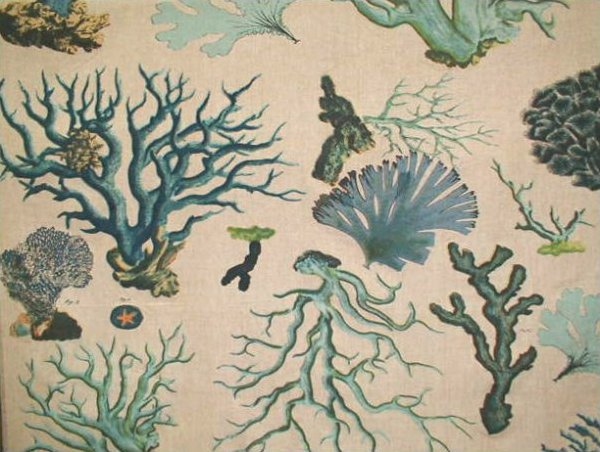 Illustrated Sealife Coral Drapery Fabric Blue Linen Weave Cotton Fabric Legacy Design Upholstery DLSO105Drapery Fabric