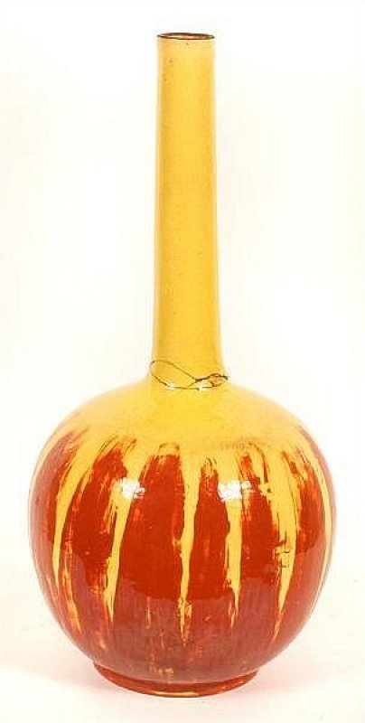 Satsuma Japanese Bottle Vase Yellow Glass with Iron Red Smear Design D7jmf