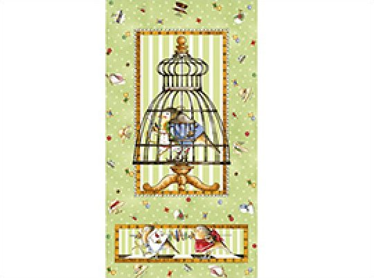 PNL67 Tiny Tailor Bird Cage Sewing Quilt Cotton Fabric