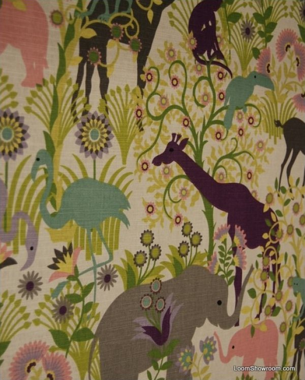 Jungle Elephant Sloth Animal Nursery Print Linen Cotton Fabric Drapery Ldso503