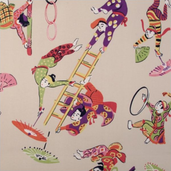 Duralee Aerialist 21022-589 Carnival Fun Retro Circus Print Toile Heavy Weight Cotton Fabric Drapery Fabric LDSO513