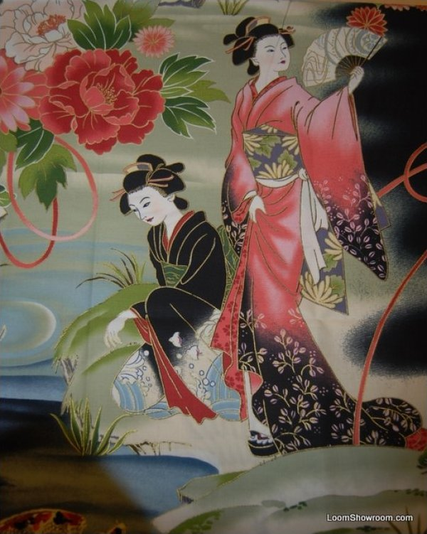 Geisha Japan Theatre Japanese Asian Serenity Koi Fish Crane Cotton ... : japanese quilt fabric - Adamdwight.com