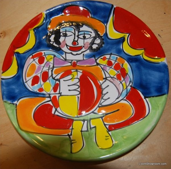Italy Carnevale Clown Hand Painted Italy Pottery Plate 8 plate BOX51C1