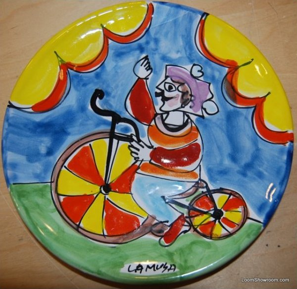 Italy Carnevale La Musa Clown Hand Painted Italy Pottery Plate 8 plate BOX51C2