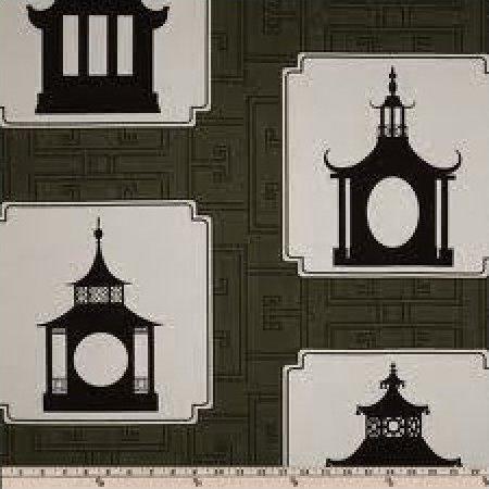 Thomas Paul Folly Modern Graphic Silouhette Print Asia Toile Tea House Incredible Heavy Cotton Fabric Slate DSO144NR