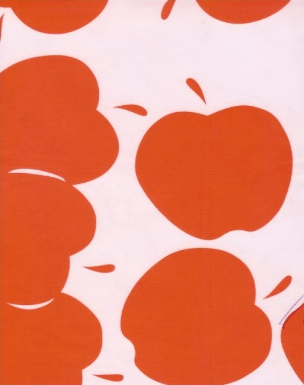 Oilcloth Bright Red Apple Print Vinyl Classic Oilcloth Vintage Style $9.99 per yard OC100