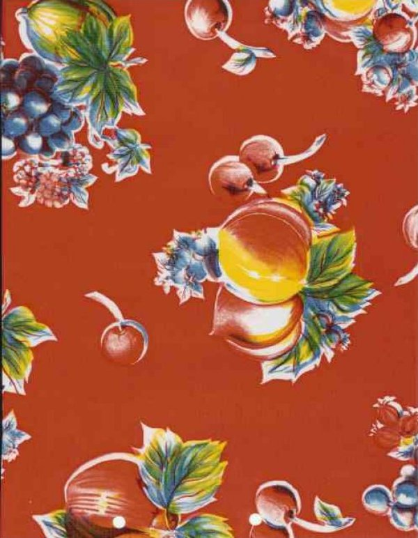 Oilcloth Bright Red Apples Pears Cherries Grapes Print Vinyl Classic Oilcloth Vintage Style $9.99 per yard OC110