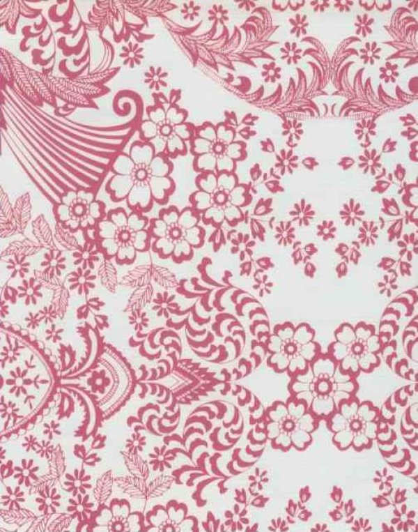 Oilcloth Bright Fuschia Lace Cut Out Bird Floral Print Vinyl Classic Oilcloth Vintage Style $9.99 per yard OC102