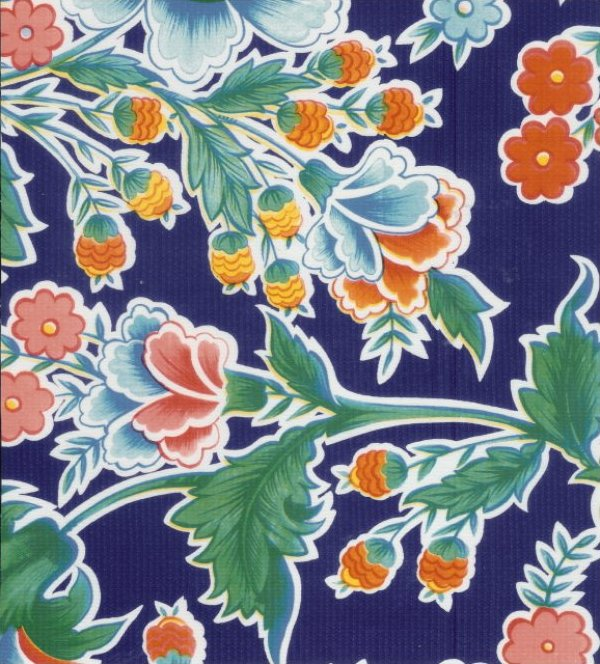 Oilcloth Rich Sea Blue Navy Floral Mexico Print Vinyl Classic Oilcloth Vintage Style $9.99 per yard OC111