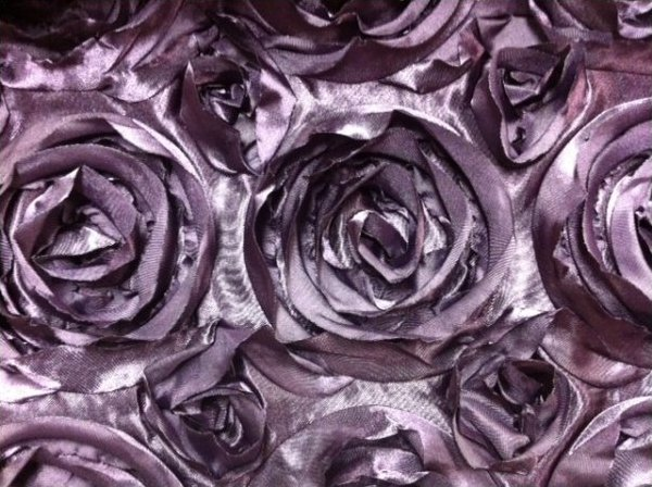 Satin Rose Flower Applique Apparel Fabric Event Fabric Royal Purple KOS008