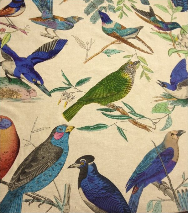 AVIARY Illustration Brilliant Birds Hand Print on Linen Home Decorating Fabric Curtain Fabric UPH Fabric Linen Fabric  DLSO501