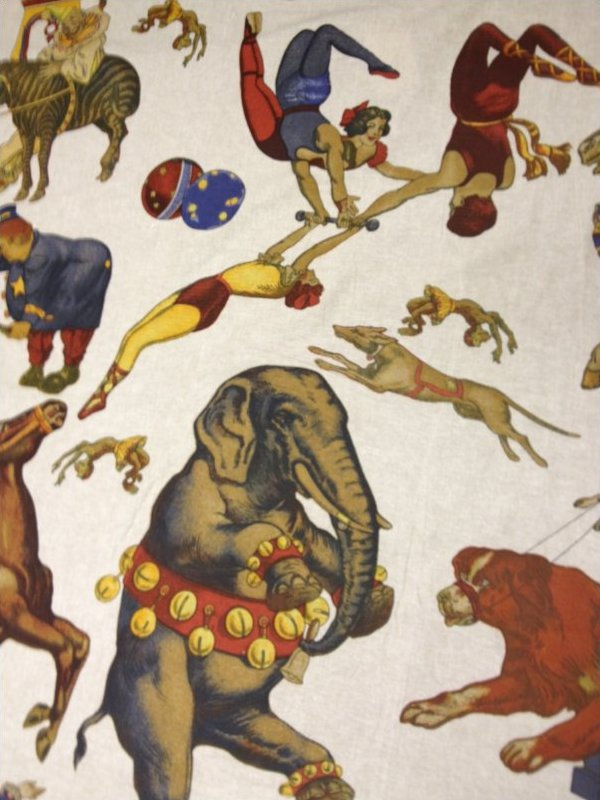 CIRCUS Hand Print on Linen Home Decorating Fabric Curtain Fabric UPH Fabric Linen Fabric DLSO500