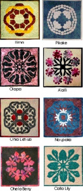 Hawaiian Applique Patterns (Iilma, Ohelo Berry, A'ali'I, Olapa, Pikake, Ohia Lehua, Naupaka, Calla Lilly) by Loretta Pasco/Raintree Hawaii