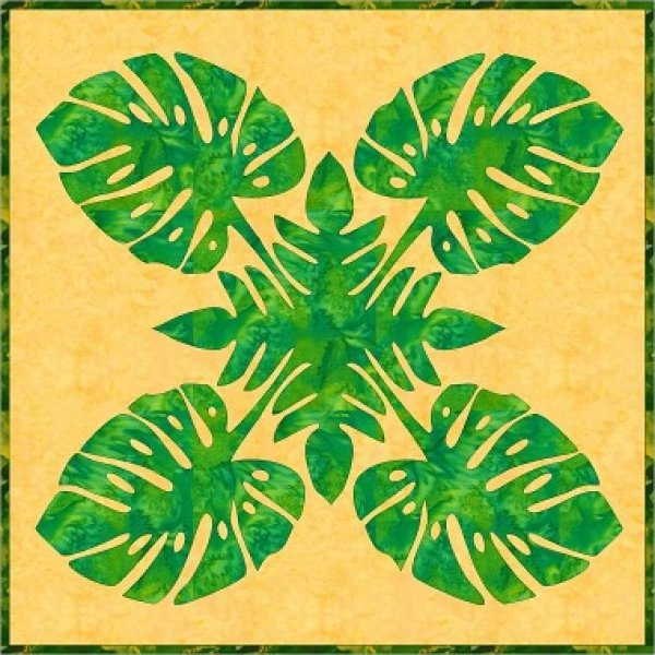 Monstera Hawaiian Applique by Barbara Bieraugel Designs