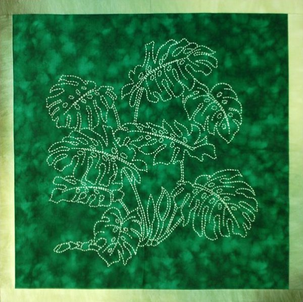 Monstera Sashiko Kit by Sylvia Pippen