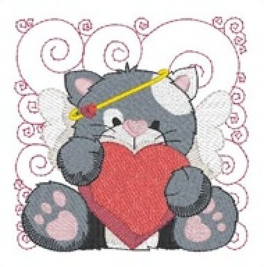 Mylar Cupid Kitties by Purely Gates Embroidery