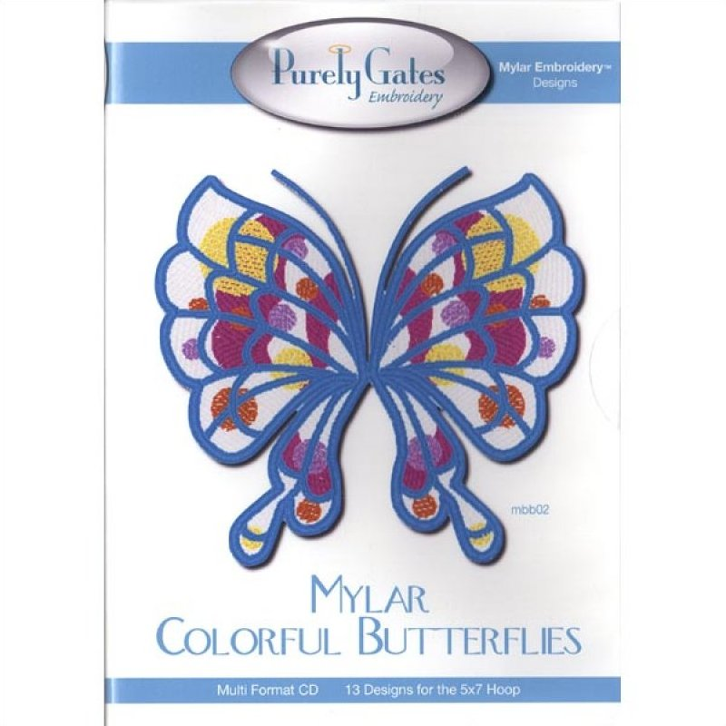 Mylar Colorful Butterflies by Purely Gates Embroidery